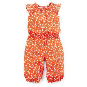 Baby Girl Butterfly Orange Jumpsuit Romper